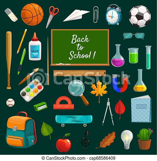 Back to school lettering on blackboard, stationery - csp68586409