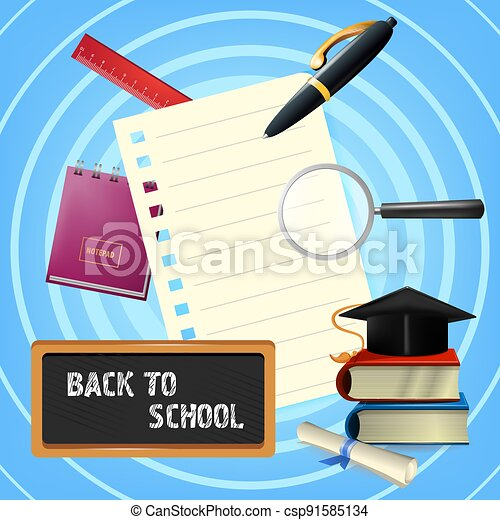 Back to school lettering with blackboard and stationery - csp91585134