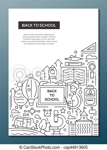 back to school line design brochure poster template a4 back to