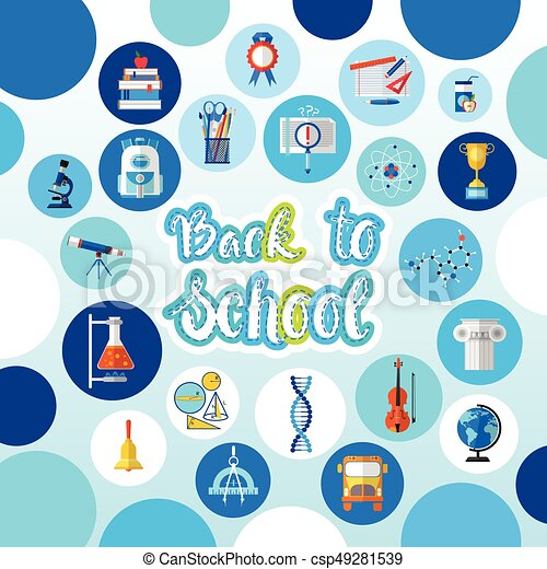 Back To School Logo Text On Background With Studing Supplies - csp49281539