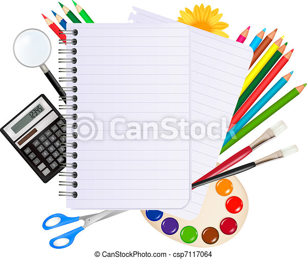 Back to school. Notepad with school - csp7117064