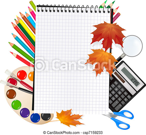 Back to school. Notepad with school - csp7159233