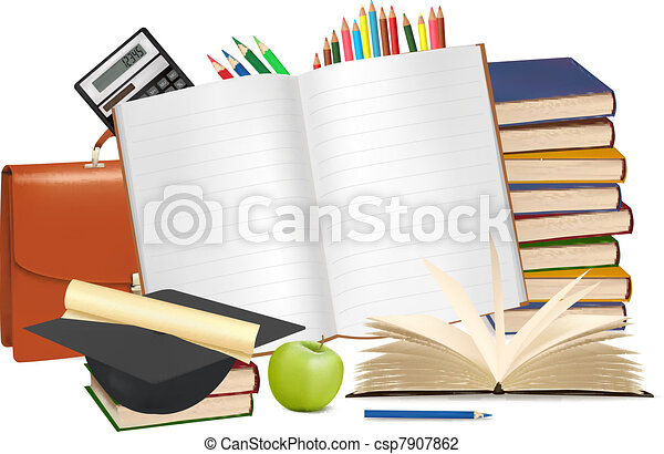 Back to school. Notepad with school - csp7907862