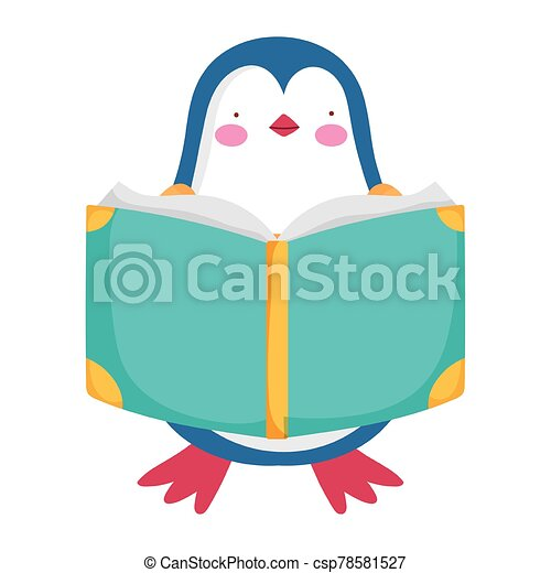 back to school, penguin reading book study cartoon - csp78581527