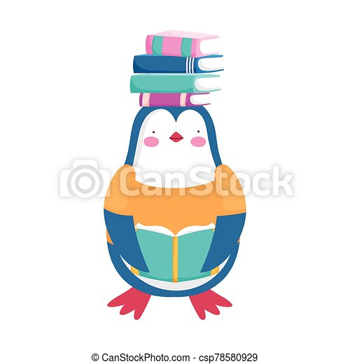 back to school, penguin with books on head cartoon - csp78580929