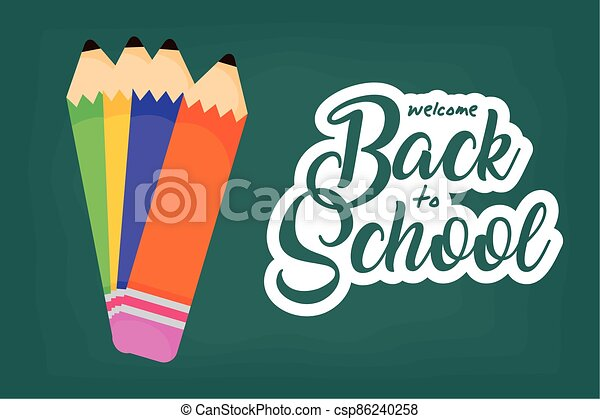 back to school poster with colors pencils - csp86240258