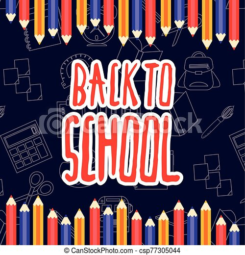 back to school poster with colors pencils - csp77305044