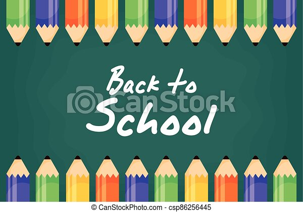 back to school poster with colors pencils - csp86256445
