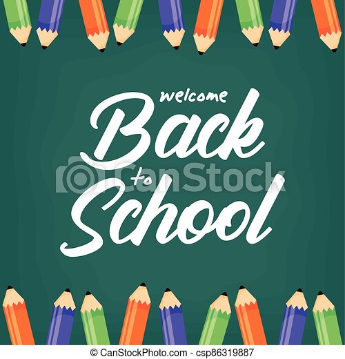 back to school poster with colors pencils - csp86319887