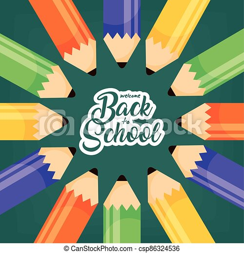 back to school poster with colors pencils - csp86324536