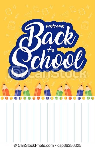 back to school poster with colors pencils - csp86350325