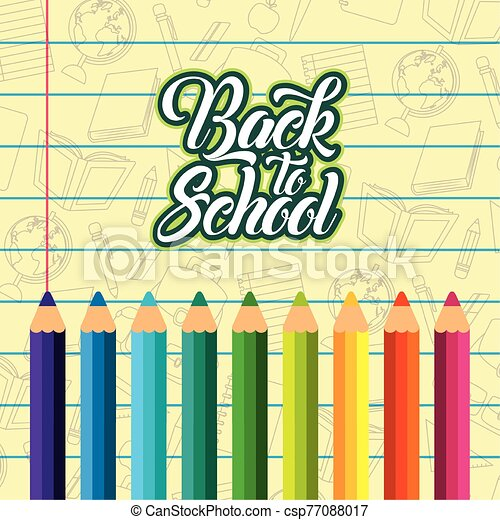 back to school poster with colors pencils - csp77088017