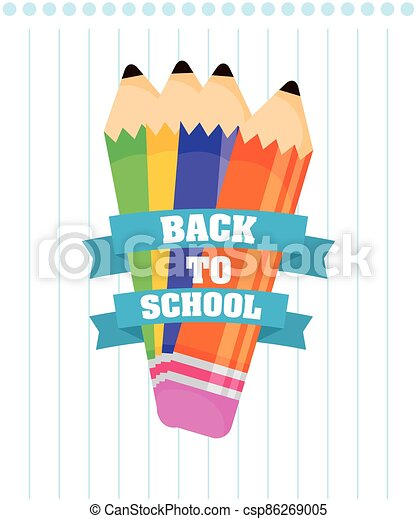 back to school poster with colors pencils - csp86269005