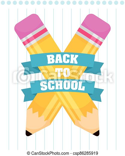back to school poster with pencils - csp86285919