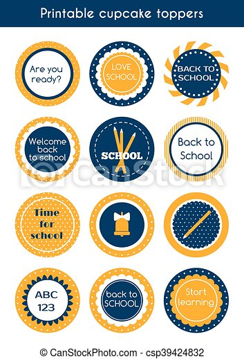 picture regarding Printable Circle Labels titled Back again towards college printable vibrant cupcake toppers