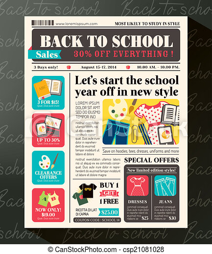Back to School Sales Promotional Design Template in Newspaper Journal style - csp21081028