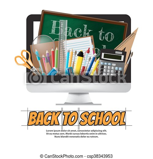 Back to school School supplies, stationery and Computer, vector illustration - csp38343953