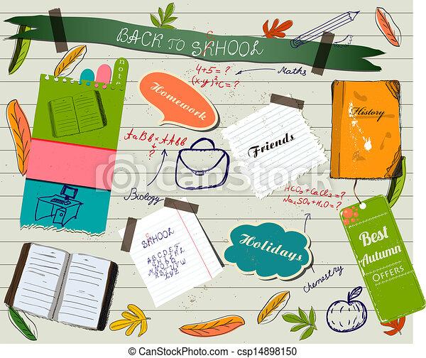 Back to school scrapbooking poster. - csp14898150