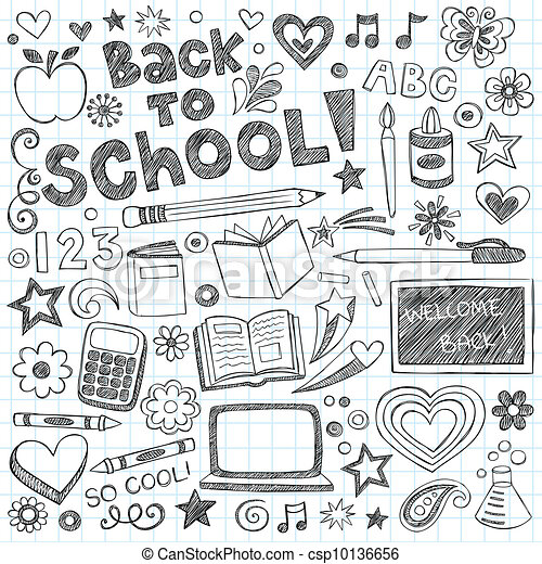 Back to School Sketchy Doodles Set - csp10136656