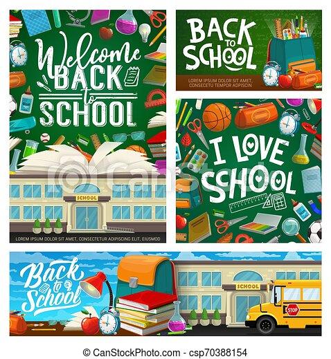 Back to school stationery and rucksack, blackboard - csp70388154