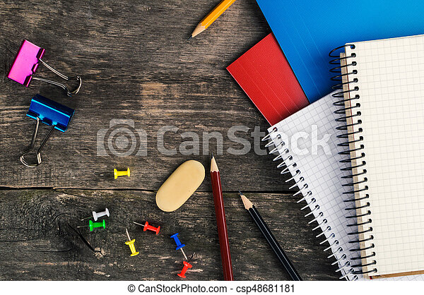 Back to School, supplies, notebook on the grey background - csp48681181