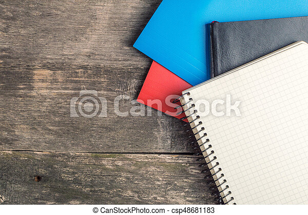 Back to School, supplies, notebook on the grey background - csp48681183