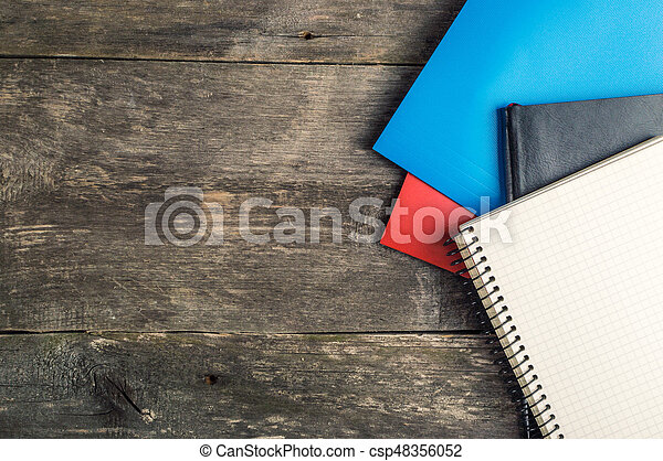 Back to School, supplies, notebook on the grey background, top view - csp48356052