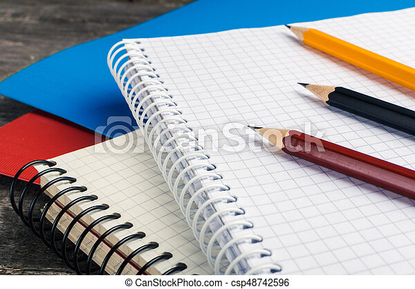 Back to School, supplies, notebook on the grey background - csp48742596