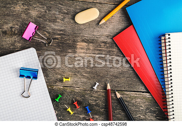 Back to School, supplies, notebook on the grey background - csp48742598