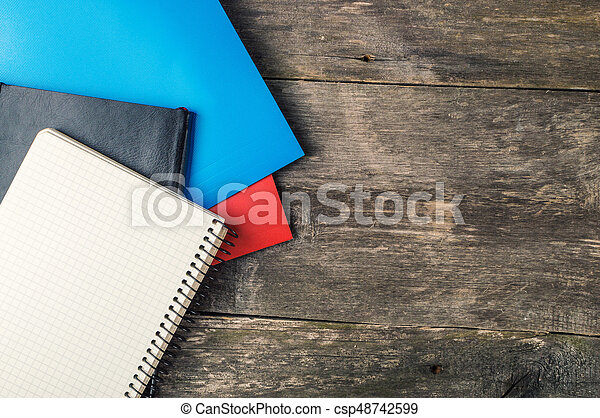Back to School, supplies, notebook on the grey background - csp48742599