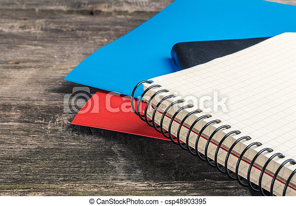 Back to School, supplies, notebook on the grey background - csp48903395