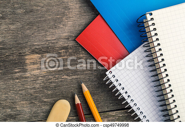 Back to School, supplies, notebook on the grey background - csp49749998