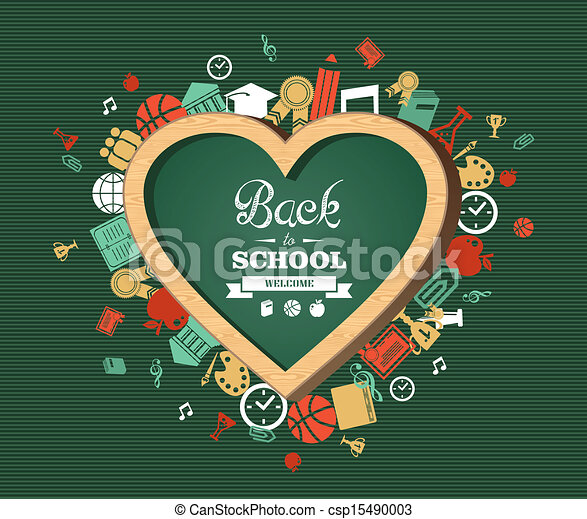 Back To School Text Education Love Symbol And Icons Welcome Back