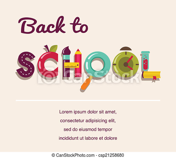 Back to school - text with icons. Vector concept background - csp21258680