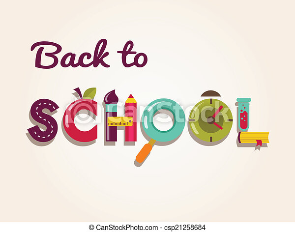 Back to school - text with icons. Vector concept background - csp21258684