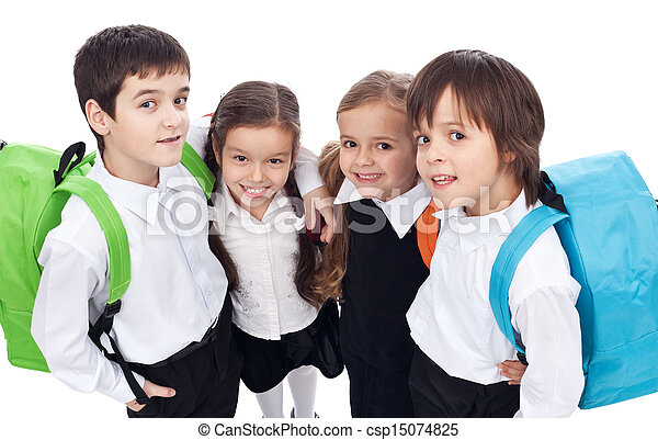 Back to school theme with group of children - closeup - csp15074825