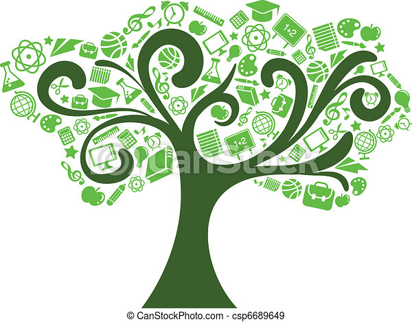 back to school - tree with education icons - csp6689649
