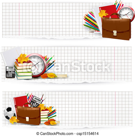 Back to school. Two banners with school supplies. Vector. - csp15154614