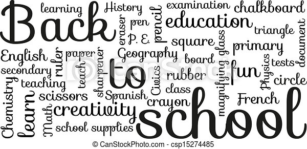 "Back to school typography. Black and white ""back to school"" typography."