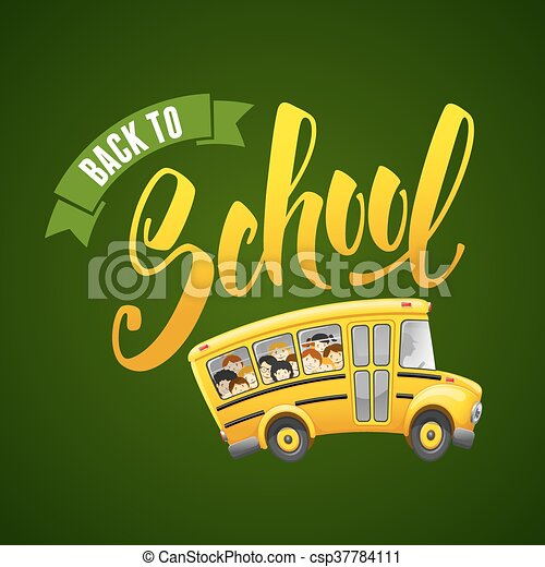 Back To School Calligraphy Inscription And Cute Cartoon School Bus