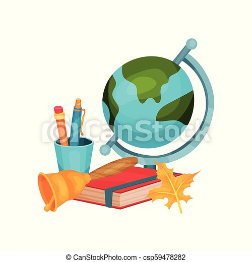 0b0cedae6 Back to school vector elements. earth globe, cup with pen and pencil, red  book, golden bell and orange autumn leaf. education objects. colorful  illustration ...