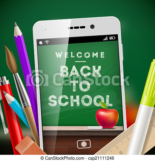 Back to school - vector illustration with smartphone and stationery items - csp21111246