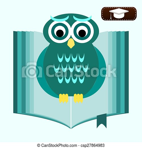 Back To School Wise Owl With Books And Graduate Cap Educational Concept Vector Illustration Flat Design