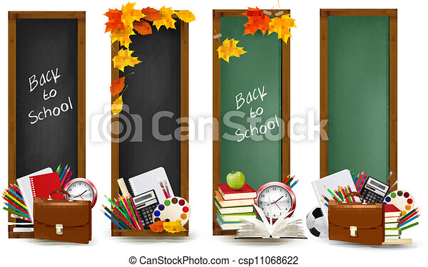 Back to school.Four banners with school supplies and autumn leaves. Vector.  - csp11068622