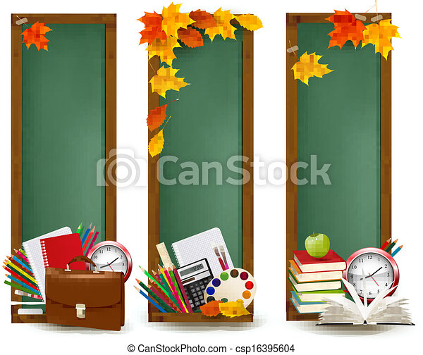Back to school.Three banners with school supplies and autumn leaves. Vector. - csp16395604