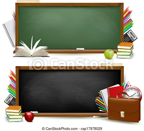 Back to school.Two banners with school supplies. Vector. - csp17978029