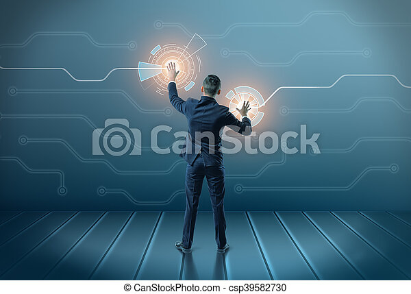 Back view of a businessman touching icons on digital screen with both hands - csp39582730