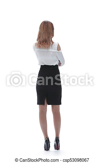 1c5bbcbc39271a Back view of beautiful business woman. Young girl in black skirt and ...