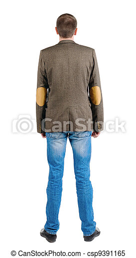 Back view of business man in jacket .  looking ahead of yourself. Isolated over white.  Standing young guy in jeans and suit jacket. Rear view people collection.  backside view of person. - csp9391165