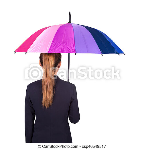 Back View Of Business Woman Holding Umbrella Isolated On White Background Umbrella Woman Business White Background